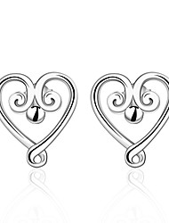 lureme®Fashion Style Silver Plated Love Shaped Stud Earrings