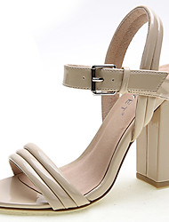 Women's Shoes Leather Chunky Heel Heels Sandals Office & Career / Dress / Casual Black / Blue / White / Nude
