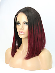 """12""""Two Tone #1B/99J Ombre Human Hair Cut Bob Style Lace Front Wig"""