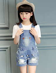 Girl's Cotton Summer Bowknot Pattern Suspender Pants Two-piece Suit