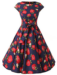 Women's Cap Sleeves Royal Blue Strawberries Print Floral Dress , Vintage Cap Sleeves 50s Rockabilly Swing Dress