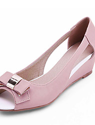 Women's Shoes Wedge Heel Wedges/Open Toe Sandals Office & Career/Dress Pink/Purple/Beige