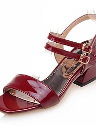 Women's Shoes Chunky Heel/Sling back/Open Toe Sandals Office & Career/Dress Black/Pink/Gray