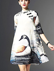 Women's Casual / Day Print A Line Dress , Stand Above Knee Cotton