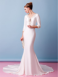 Lanting Bride Trumpet/Mermaid Wedding Dress-Chapel Train V-neck Knit