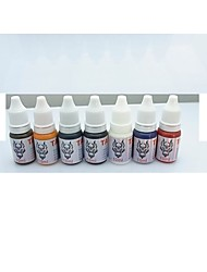1 Set BaseKey Tattoo Ink  7x10ml colors Red Brilliant Blue White Black Green Golden Dark Brown