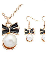 Women European Style Bow Tie Imitation Pearl Necklace Earrings Sets