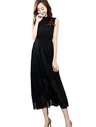 De las mujeres Línea A / Gasa Vestido Boho Un Color Maxi Escote Chino Poliéster