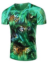 Men's Fashion Hidden Jungle Leopard 3D Print Short Sleeve T-Shirts;Cotton/Polyester/Print
