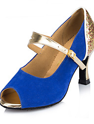 Customizable Women's Dance Shoes Suede Suede Latin / Modern / Salsa Heels Stiletto Heel Practice / Indoor Blue / Fuchsia
