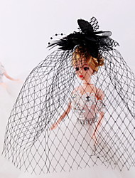 Women's / Flower Girl's Feather / Tulle / Net Headpiece-Wedding / Special Occasion / Casual Birdcage Veils 1 Piece