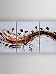 Oil Painting Abstract Flowers Set of 3 Hand Painted Canvas with Stretched Framed