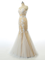 Formal Evening Dress-Champagne Trumpet/Mermaid Sweetheart Floor-length Lace / Tulle / Stretch Satin