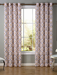 One Panel Modern Curve Multi-color Living Room Polyester Panel Curtains Drapes 52 inch Per Panel