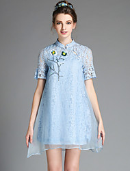 Fashion Women Chinese Vintage Ethnic Elegant Bead Hollow Lace Organza Plus Size Short Sleeve Dress