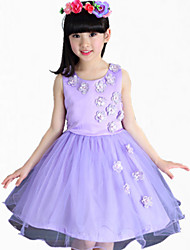 Girl's Pink / Purple / White Dress,Floral Cotton Summer