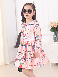 Girl's Cotton Summer Cartoon Picture Scrawl Long Sleeve Dress