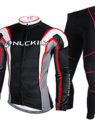 Nuckily Cycling Jersey with Tights Men's Long Sleeves Bike Clothing Suits Waterproof Thermal / Warm Rain-Proof Reflective Strips Velvet