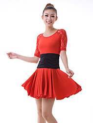 Latin Dance Dresses Women's Training Lace / Milk Fiber Lace / Pleated / Ruffles 2 Pieces Black / Red Latin Dance Half Sleeve NaturalDress