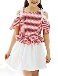 Girl's Black / Red Dress,Stripes Cotton Summer