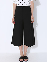 Women's Solid Black Wide Leg Pants,Casual Loose Thin Fashion High waist Tenths pants Polyester/Spandex