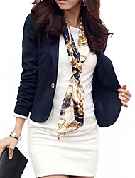 Women's Fall / Winter Blazer,Solid Long Sleeve Blue / White / Black / Brown Medium