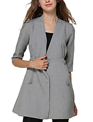 Trench Aux femmes ½ Manches Simple / Street Chic Polyester