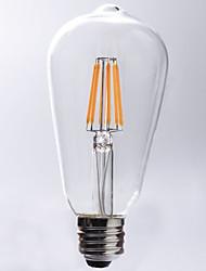8W E26/E27 Ampoules à Filament LED ST64 8 COB 750 lm Blanc Chaud Décorative Etanches AC 100-240 V 1 pièce