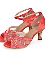 Для женщин-Сатин-Персонализируемая(Черный / Синий / Фиолетовый / Красный) -Танец живота / Латина / Джаз / Модерн / Самба / Обувь для