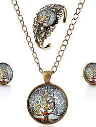 Lureme® Time Gem Series Vintage Notes Tree Pendant Necklace Stud Earrings Hollow Flower Bangle Jewelry Sets