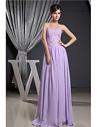Formal Evening Dress-Lavender A-line Strapless Floor-length Chiffon