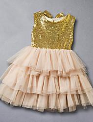 Vestido Chica de-Verano-Poliéster-Oro