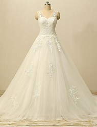 A-line Wedding Dress Court Train V-neck Lace / Tulle with Appliques / Lace