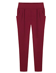 Women's Solid Blue / Red / Black Harem Pants,Plus Size / Casual / Day