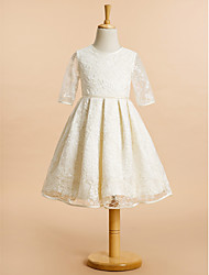 Lanting Bride ® A-line Knee-length Flower Girl Dress - Lace Half Sleeve Jewel with Lace
