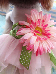 Dog Dress Pink Dog Clothes Summer / Spring/Fall Flower Wedding / Fashion
