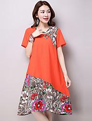 Women's Vintage Patchwork Loose Dress,Round Neck Knee-length Linen