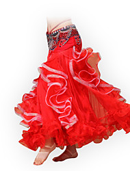Belly Dance Bottoms Women's Performance Skirt Chiffon / Organza Ruched 1 Piece Fuchsia / Red /Blue / White / Yellow