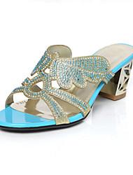 Zapatos de mujer-Tacón Robusto-Tacones-Sandalias-Boda / Vestido / Casual / Deporte / Fiesta y Noche-Purpurina-Azul / Negro / Almendra