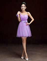 Knee-length Satin / Tulle Bridesmaid Dress-Lavender / Sage / Champagne A-line One Shoulder