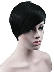 moda perucas de cabelo sintético penteados de celebridades rihanna sexy penteado preto da senhora reta curta