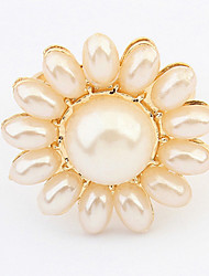 Women's Natural Pearl Fing Jewelry fashion Personality Exaggerated Sun Flowers Ring