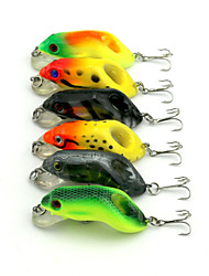 6pcs Hengjia Hard Plastic Frog Baits 55mm 8.9g Fishing Lure Rondom Colors