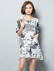 De las mujeres Línea A Vestido Simple Estampado Asimétrico Escote Redondo Algodón