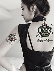 Fashion Large Temporary Tattoos King and Queen Sexy Body Art Waterproof Tattoo Stickers 2PCS  (Size: 5.71'' by 8.27'')