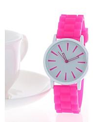 Mulheres Relógio de Moda Quartzo Borracha Banda Preta Branco Azul Vermelho Laranja Rosa Amarelo # 9 # 10 13# # 11 # 12