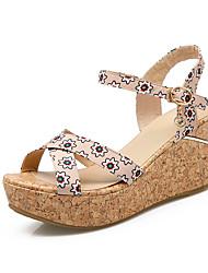 Women's Shoes / Fleece Wedge Heel Wedges / Slingback / Comfort / Open Toe Sandals Dress / Casual Black / Blue / Pink