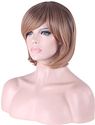 10inch Women Short Bobo Straight Synthetic Hair Wigs Side Bang Dark Brown with Free Hair Net