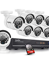 SANNCE® 8CH AHD-720P DVR Recorder with 1TB HDD Day Night Weatherproof Home Security Camera System