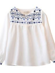 Girl's White / Yellow Blouse Cotton Spring / Fall